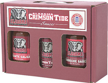 Alabama Crimson Tide Tailgate Party Pack - Hot Sauce, Salsa, and BBQ Sauce
